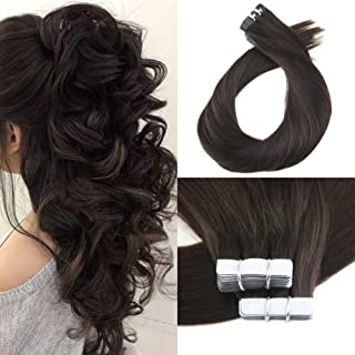 Moresoo 24 Inch Tape in Remy Human Hair PU Hair Skin Weft Real Hair Extensions 40 Pieces 100 Grams Per Pack #2 Darkest Brown Human Hair Brazilian Remy Hair