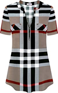 Ca Kra Women's Short Sleeve Zip Front V-Neck Work Casual Blouse Top Plaid Shirt