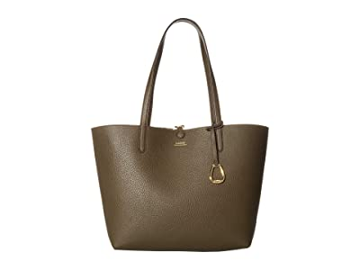 LAUREN Ralph Lauren Faux Pebble Grain Reversible Tote Medium (Olive Mini Chain Link) Handbags