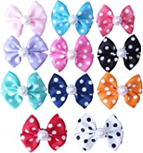 PET SHOW Bowknot Dog Hair Bows with French Barrette Clips Pet Puppies Yorkie Teddy Grooming Hair Accessories Pack of 10