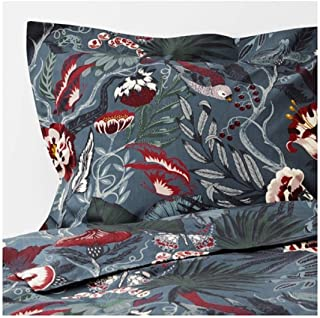 IKEA Filodendron Duvet Cover and Pillowcases Dark Blue Floral Patterned Size: King 904.125.39