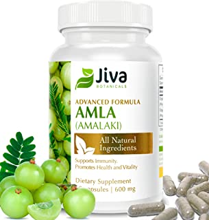 Natural Vitamin C - Amla Powder Capsules - 600 mg Amla Extract - Immune Support - Amalaki, by JIVA BOTANICALS