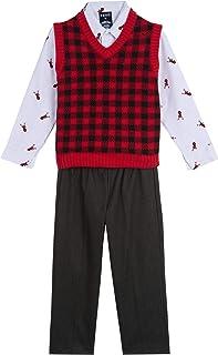 IZOD Boys' Toddler 3-Piece Sweater Vest, Dress Shirt, and Pants Set