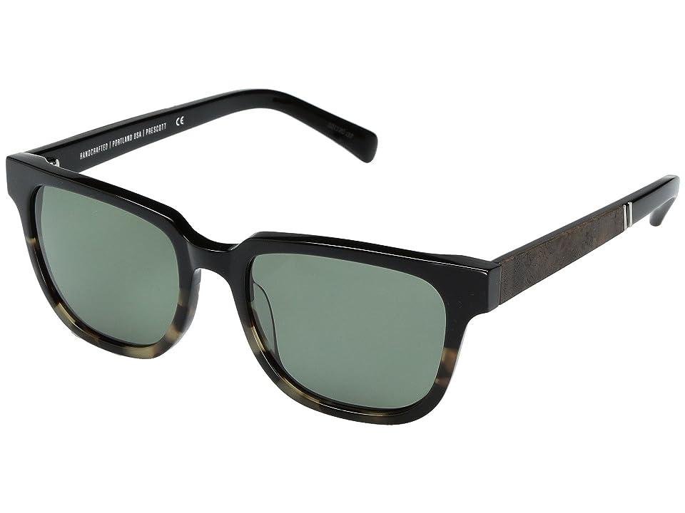 Shwood Prescott Acetate Wood Polarized (Black Olive/Elm Burl/G15 Polarized) Polarized Sport Sunglasses