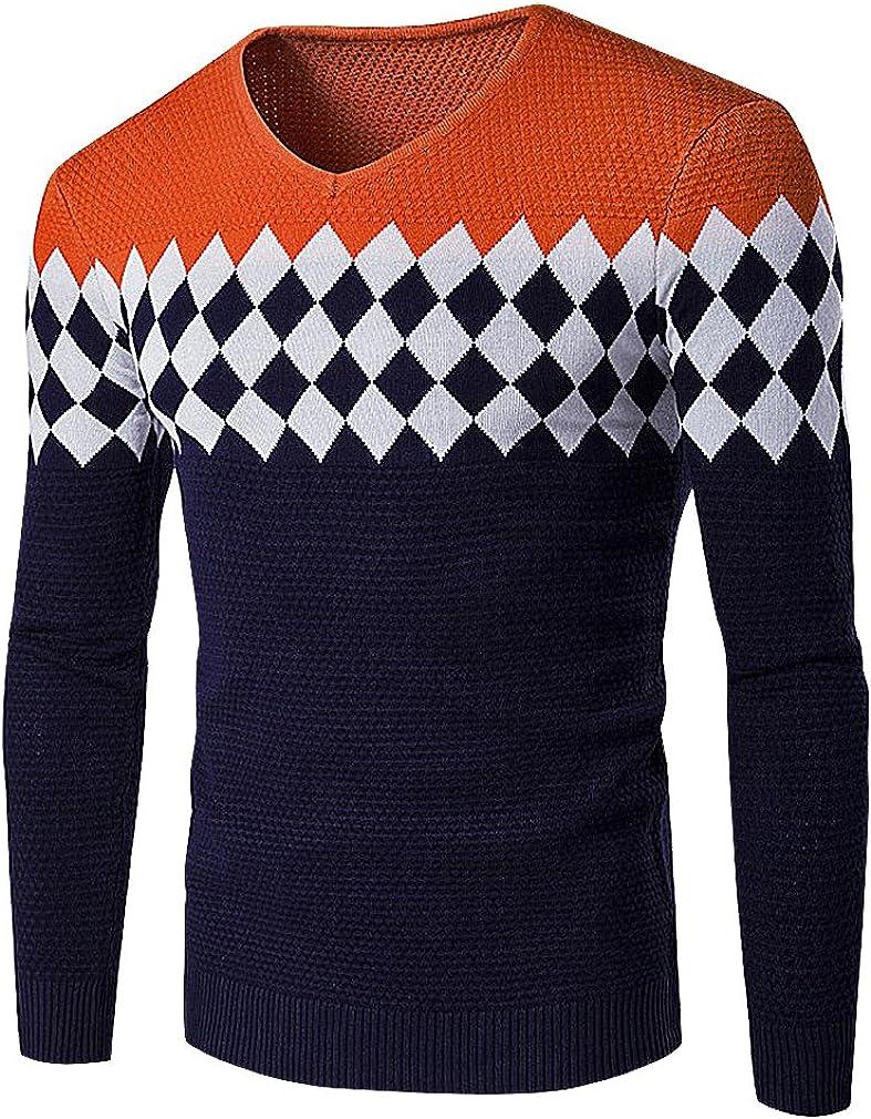 BAMan Men Mixed Knit Rhombic Pattern Rib Cuff V Neck Close Fit Wool Sweater