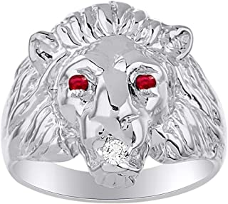 Lion Head Ring set with Genuine Diamond in mouth & Natural Rubies in eyes White Gold Plated over Sterling Silver .925
