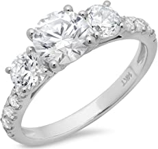 Clara Pucci 2.0CT Round Cut Simulated Diamond CZ Pave Three Stone Accent Bridal Engagement Wedding Band Ring 14K White Gold