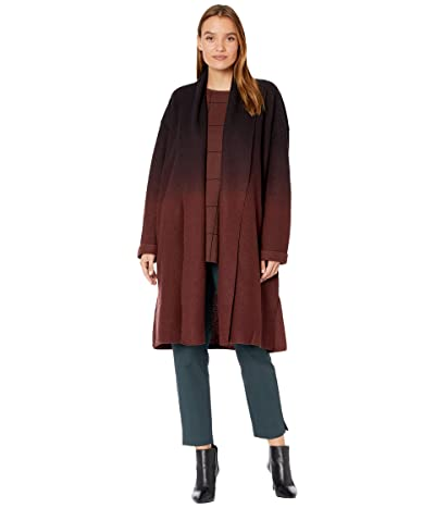 Eileen Fisher High Collar Coat with Ombre (Brown Stone) Women