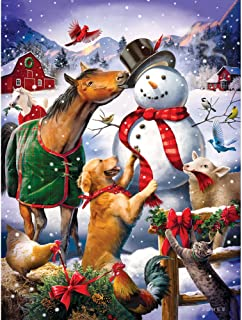 Bits and Pieces - 500 Piece Jigsaw Puzzle for Adults - Christmas Barn Snowman - 500 pc Animal Winter Scene Jigsaw by Artist Larry Jones