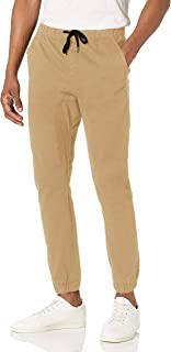 WT02 mens Jogger in Basic Solid Colors and Stretch Twill Fabric Casual Pants, Light Khaki(all Season), X-Large US