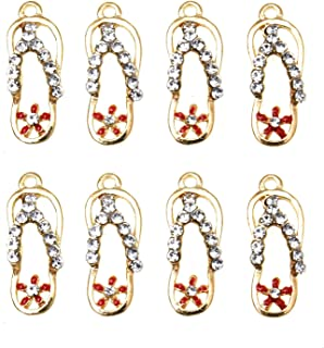 Monrocco 20Pcs Flip Flop Charms Enamel Flip Flop Charms Pendants Slipper Charm Bulk for Jewelry Making