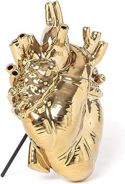 """SELETTI """"Love in Bloom Gold Vaso Cuore Finitura Oro"""