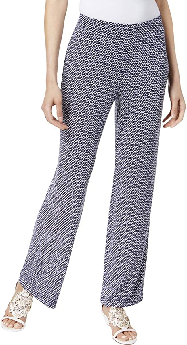 Vince Camuto Womens Printed Pull On Casual Wide Leg Pants, Blue, Medium