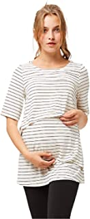 octmami Womens Maternity Nursing Top Stripes Breastfeeding Casual Short Sleeve Clothing