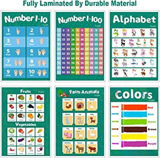 Fully Laminated Educational Preschool Poster for Toddler Kids, Nursery Homeschool & Kindergarten Classroom Playroom, Learning Alphabet Numbers Shapes Colors Chart Poster Set, 6 Pack