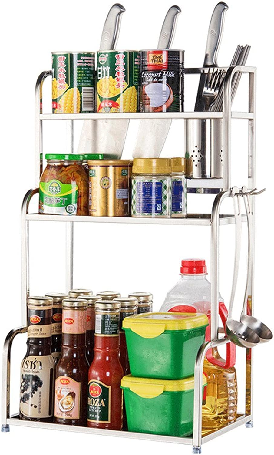 DGF Kitchen Rack, 304 Stainless Steel Floor Kitchen Storage Rack, 3 Layer Chopsticks Frame (L40cm  W22.5cm  H59cm)