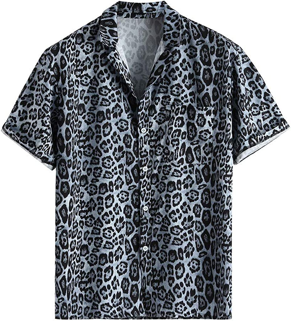 FIN86 Summer Genuine Free Shipping Men Fashion Blouse Leopard Mens Pocke Chest Printed Max 72% OFF