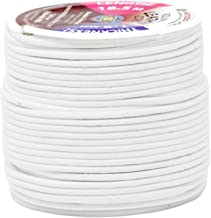 Mandala Crafts Round Cowhide Genuine Leather String Cord, Natural Rawhide Rope for Jewelry Making, Kumihimo Braiding, Shoelaces (1.5mm, White)