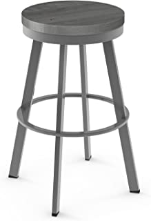 Amisco Warner Swivel Metal Counter Stool in Glossy Grey Metal and Light Gray Distressed Wood