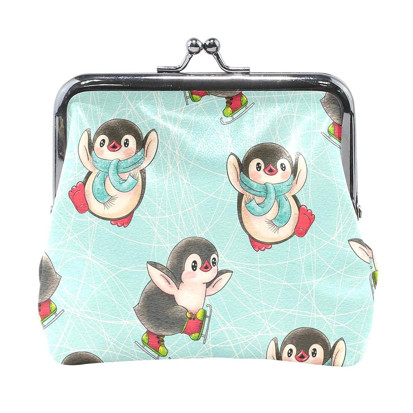 不規則性おなじみのビジョンがま口 財布 口金 小銭入れ ポーチ ペンギン 可愛い ANNSIN バッグ かわいい 高級レザー レディース プレゼント ほど良いサイズ