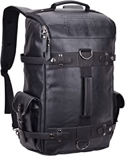 WITZMAN Large Travel Backpack Leather College Rucksack Casual Daypack (6681, PU Leather Black)