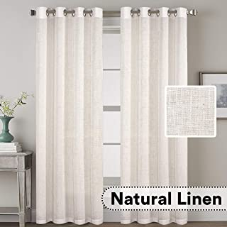 H.VERSAILTEX Grommet Privacy Linen Curtains - 2 Pieces - Total Size 104 Inch Wide (52 Inch Each Panel) - 96 Inch Long - Elegant, Light Filtering Panel Drapes for Bedroom (52