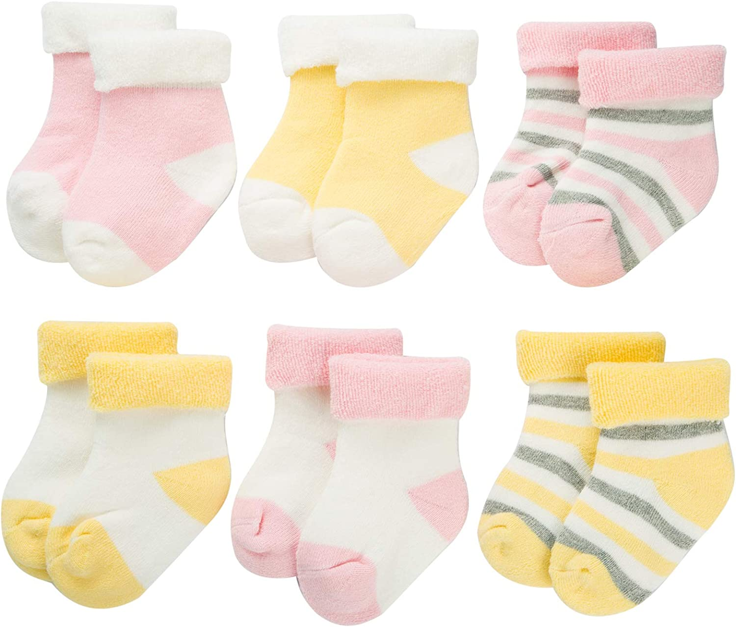 6 Pairs Cute Warm Baby Welcome Party Gift Sets Funny Winter Baby Infants Newborn Towels Socks For 0-6/6-12 Months
