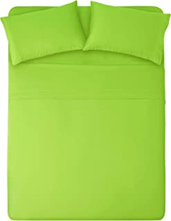 HONEYMOON HOME FASHIONS Bedding Queen Sheet Set Triple Row Embroidery 4 Pieces Lime Green