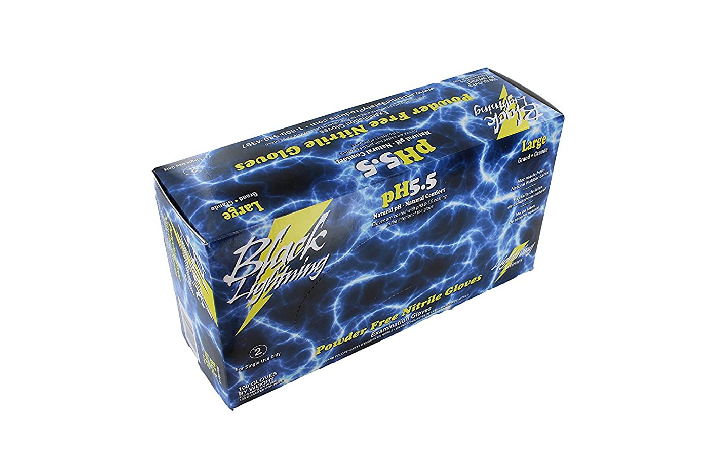 酔ってきつくシエスタBlack Lightning Disposable Latex Gloves - Large 100 per Box by Atlantic Safety Society
