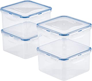 Lock & Lock HPL822DS4 Easy Essentials Storage Food Storage Container Set / Food Storage Bin Set - 4 Piece, Clear