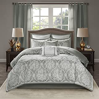 Madison Park Dora 8 Piece Jacquard Bedding Medallion Comforter Set for Bedroom, Cal King Size, Silver