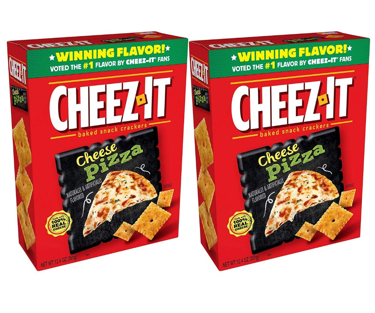 Baked Snack Crackers, Cheez It Cheese Pizza Flavor Made with Real Cheese, Delicious Snack to Share with the Whole Family, Pantry Staples for 2 Packs of 12.4 Oz