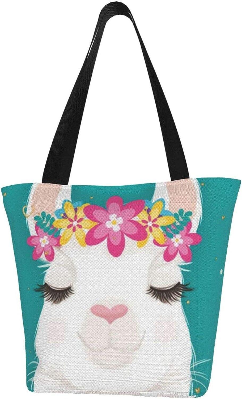 Garland Cute Llama Close Eyes Themed Printed Women Canvas Handbag Zipper Shoulder Bag Work Booksbag Tote Purse Leisure Hobo Bag For Shopping