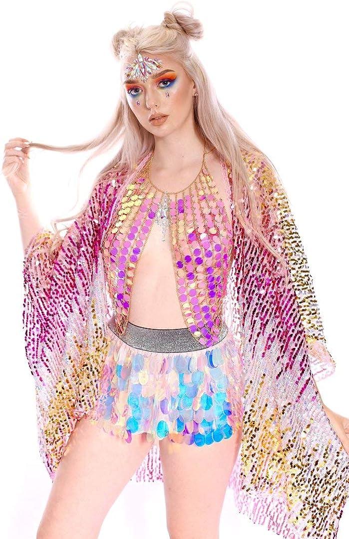 The LUMi Shop Multicolor Sequin Kimono Colorful Cover-Up Wrap Holographic Festival Fashion Shawl