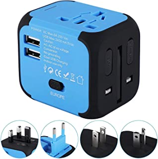 Travel Adapter,Universal World Travel Plug Adapter with Dual USB Charger. Swiss Designed for Safety Outlet. Charge iPads,Blackberrys and Other USB Devices in Over 150 Countries (Blue)