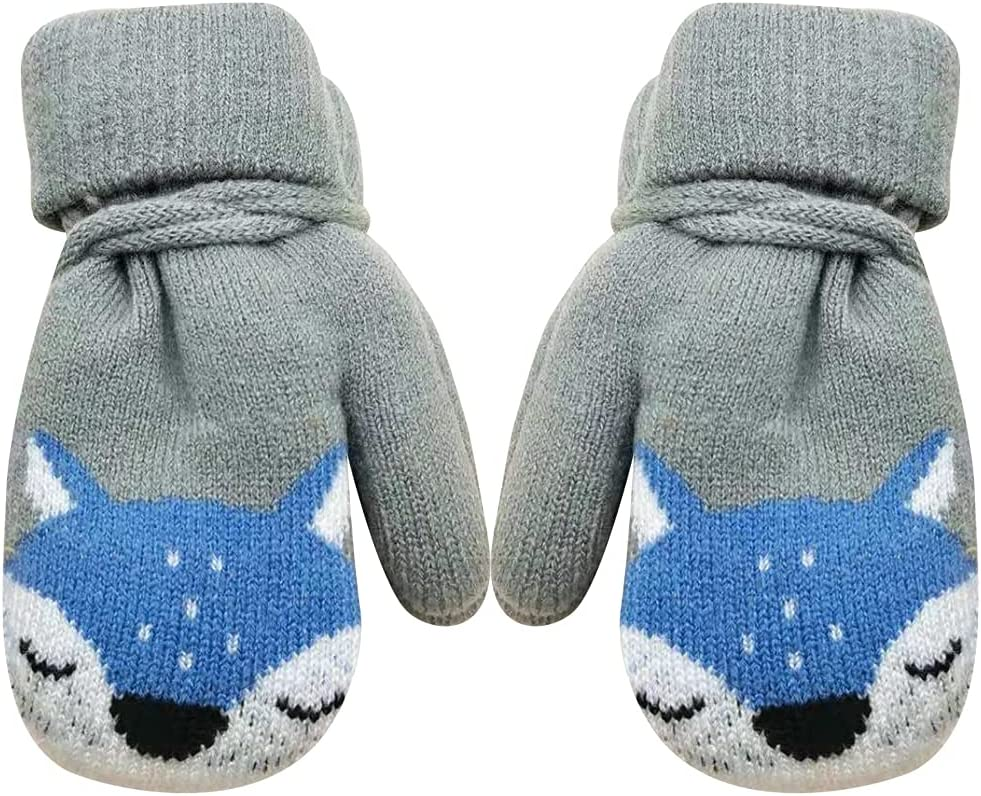 Licogel Kids Knit Mittens Fox Winter Mittens Warm Mittens with Lanyard for Christmas Portable Party Festive Adorable