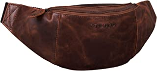 """STILORD Shawn"""" Leder Gürteltasche groß Vintage Bauchtasche Festivaltasche Hüfttasche für Herren und Damen 7 Zoll Reisetasche Voll-Leder, Farbe:Zamora - braun"""