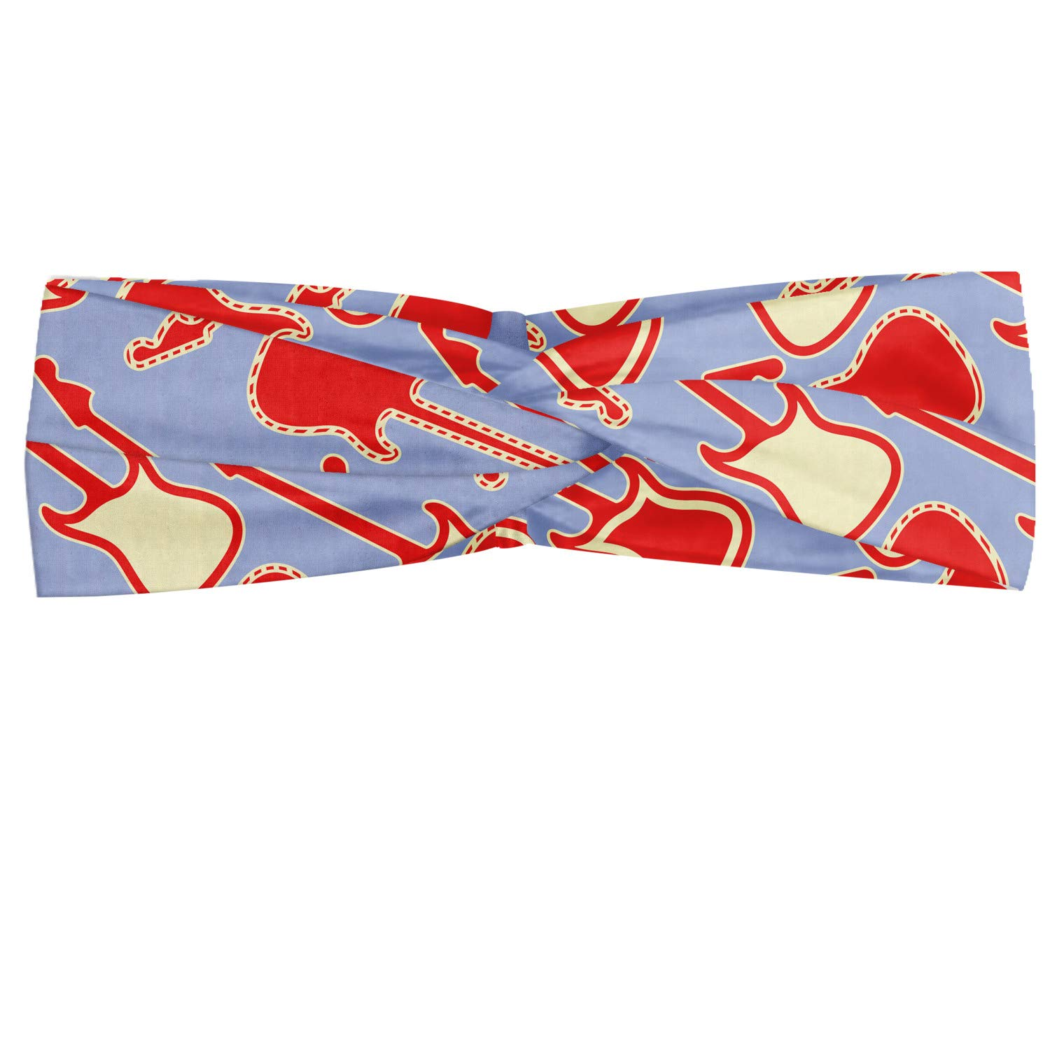 Ambesonne Guitar Headband, Abstract Bicolor Music Equipment Illustration Rock n' Roll Modern, Elastic and Soft Women's Bandana for Sports and Everyday Use, Vermilion Lavender