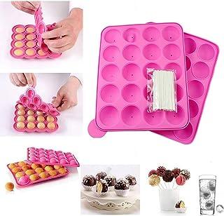 Moules à Pop Cake Muffins Bac à Glaçons Plaque en silicone pour Faire Lollipop Bonbon Gâteaux Pâtisserie 20 Moules + 120 B...