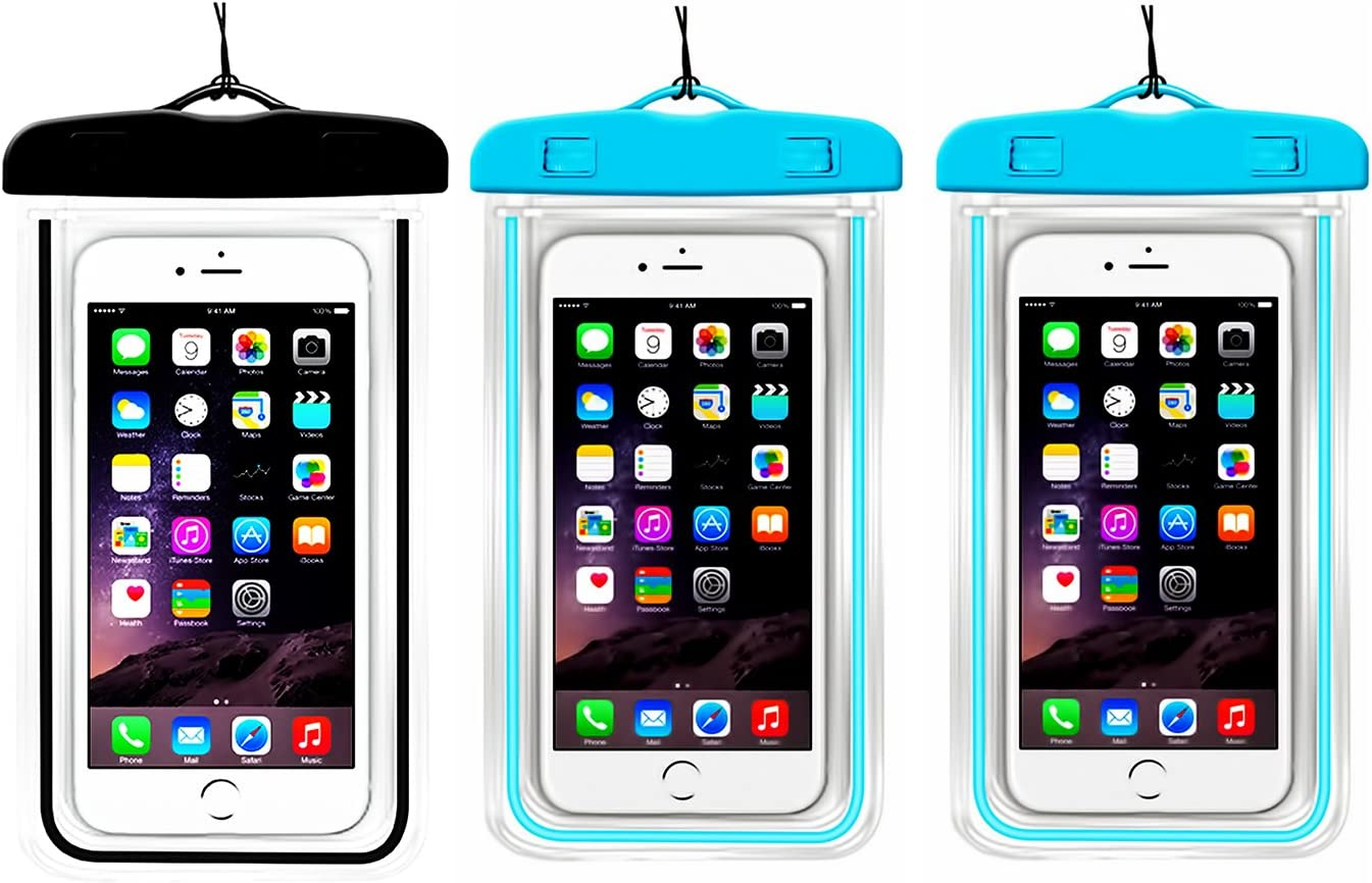 (3Pack) Universal Waterproof Case, CaseHQ IPX8 Waterproof Phone Pouch Dry Bag for iPhone 11 12 pro XR/8/8plus/7/7plus/6s/6/6s Plus up to 6.2