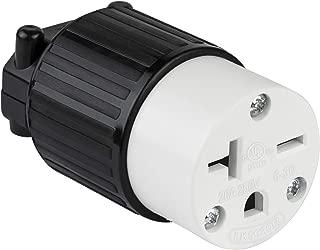 ENERLITES Industrial Grade 20A 250V Straight Blade Cord Connector, NEMA 6-20R, 2P, 3W, 66231-BK, Black