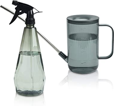 T4U 1L Watering Can Long Spout Plastic, Stainless Steel Spout Water Can with Fine Mist Spray Bottle for Indoor Outdoor Use, M