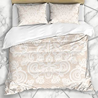 Ahawoso Duvet Cover Sets Queen/Full 90x90 Mesh Beige Wedding White Lace Floral Pattern Abstract Vintage Damask Romantic Dresses Microfiber Bedding with 2 Pillow Shams