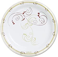 product image for SOLO HP9SJ8001CT Symphony Heavyweight Paper Dinnerware, 9-Inch, Round, White/Beige/Red,125/PK, 4PK/CT