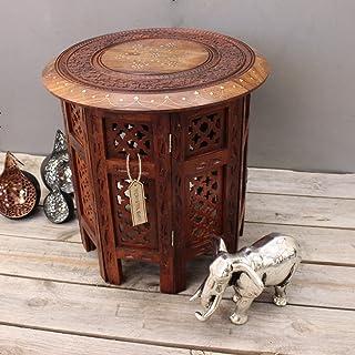 Stylla London Beistelltisch aus Holz, handgeschnitzt, 38,1 cm, Sheesham Jali, mit Messing- und Kupfereinlage, für Wohnzimmer, Flur, indische Möbel