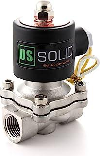 "U.S. Solid 110V AC 1/2"" ステンレス鋼電磁弁 直動式 圧縮空気 水 水空気 電磁バルブ ソレノイドバルブ"