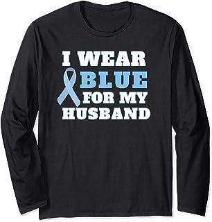 I Wear Blue For My Husband Prostate Cancer Awareness Long Sleeve T-Shirt