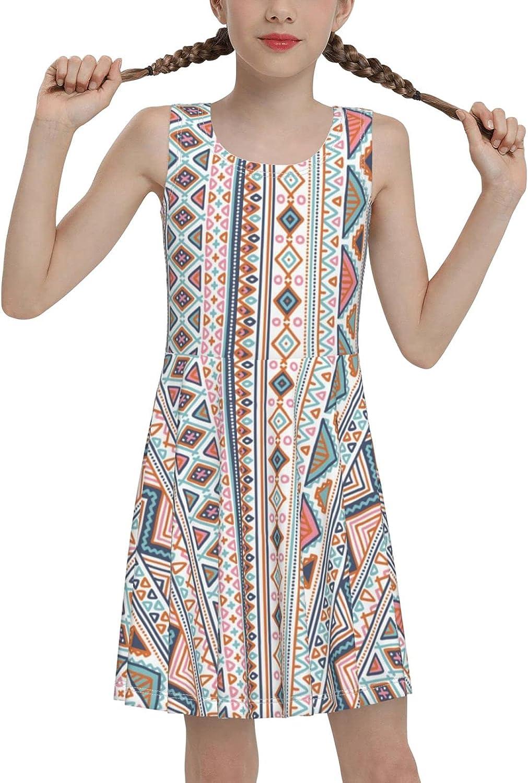 SDGhgHJG Tribal Pattern Sleeveless Dress for Girls Casual Printed Jumper Skirt