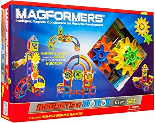 Magformers Magnets in Motion Set (61-pieces) Magnetic Building Blocks, Educational Magnetic Tiles Kit , Magnetic Construct...