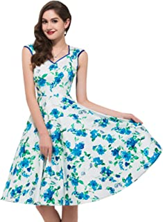 Women 50's Cocktail Dresses Floral Print Swing Dress CL7600